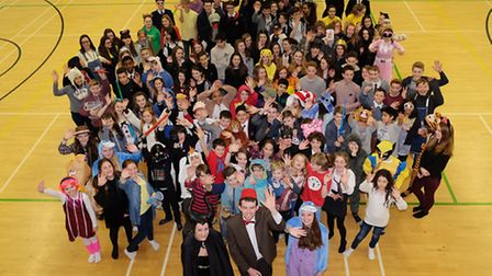 Cadbury House at Roundwood Park School dress up as childrens TV and film characters to raise money f