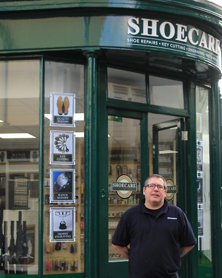 John Rogers, proud to be manager of Shoecare, Royston. He's got more than thirty years of experience