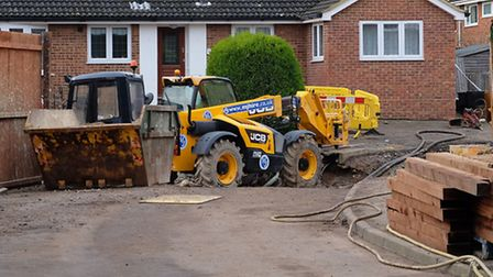 Work continues to fix the damage caused by a sink hole in Fontmell Close