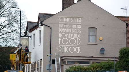 The Peacock pub with 'St Alban's' spelt incorrectly