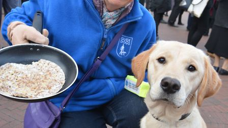 Huntingdon Flip-a-thon, Ruth Savage, with Guide Dog Goldie,