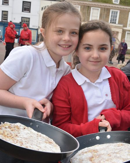 Huntingdon Flip-a-thon, (l-r) Leia, and Naomi, from Stukeley Meadows Primary School,