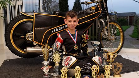 Freddie Fox-Baron with his impressive haul of trophies from a successful first season. Picture: DANN