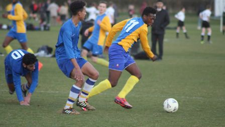 Arsenal'sTolaji Bola in action at St Albans School, before signing a new contract with the club