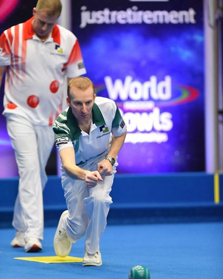 Nicky Brett pictured during the Just Retirement World Indoor Bowls Championship final. Picture: JAME