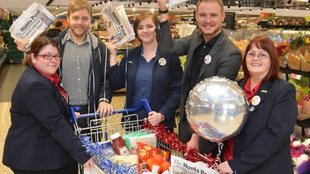 Win a years supply of groceries, with Tescos, and The Hunts Post, (l-r) Sam Levy from Service Desk,