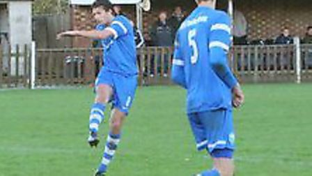 Russell Gallagher scored twice as London Colney beat Berkhamsted. Picture: JIM WHITTAMORE