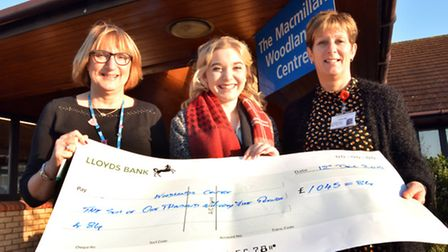 Cheque to the Woodlands Centre, (l-r) Woodlands Administration Assistant Diane Moore, fundraiser Amy