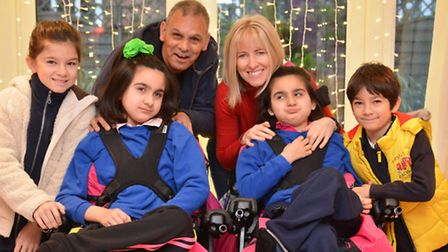 Young Carers, dad and mum Mark and Ruth Higginson, with children (l-r) Josie, Amelia, Phoebe, and Ja
