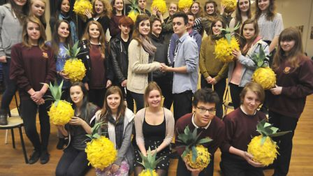 The students ready for the show, including (centre) lead roles Aimee and Charlie. Picture: HELEN DRA