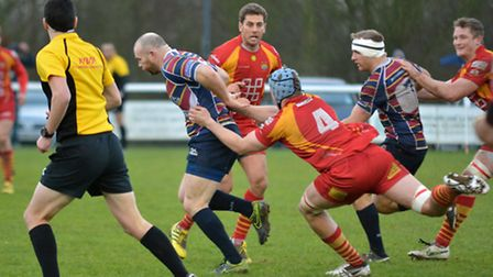 Head coach James Shanahan powers through to score against Cambridge. Picture: KEVIN LINES