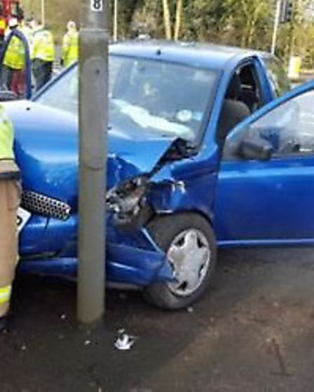 Firefighters had to extract people trapped following a two-vehicle collision in Markyate. Photo cour