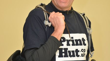 Frank Golden, from Print Hut, Eaton Ford, is walking 106km for EACH