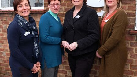 The Living Room councillor Debbie Coote, centre adminstrator Ann Green, CEO Janis Feely MBE and coun
