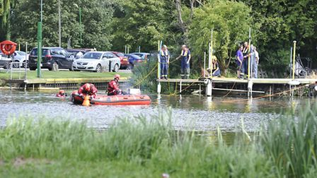Emergency services search the river at the St Neots Dragon Boat Festival.