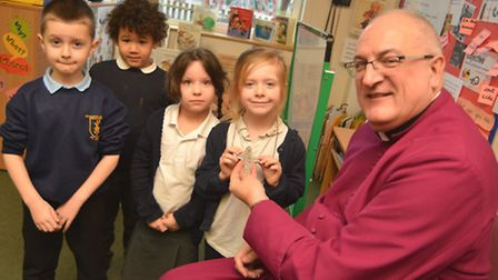 The Bishop of Ely Stephen Conway, visits pupils ta St Marys Academy Primary School, St Neots, with (