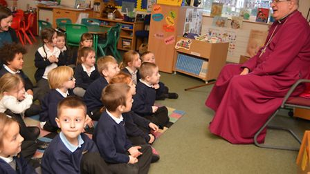 The Bishop of Ely Stephen Conway, visits pupils ta St Marys Academy Primary School, St Neots,