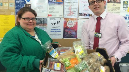 Morrisons community champion Claire Pettifer and store general manager Ben Picton.
