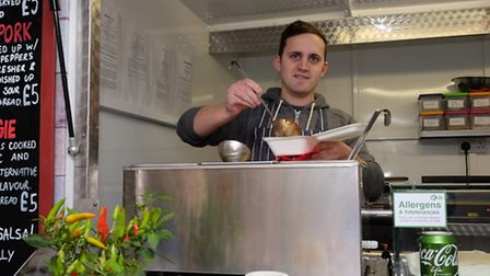 Jon Watts in his StEAT food trailer which can be found on St Peter's Street on non-market days