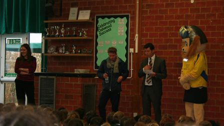 St Albans City FC's Lawrence Levy and Sammy the Saint at Oakwood School