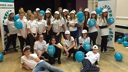 Students from across Huntingdonshire took part in a flash mob to spread their smoke free message