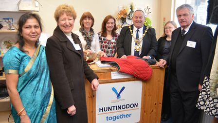 Opening of Huntingdon Together charity shop, (l-r) Organiser Tripti Woolf, Manager Ann Bunting, Volu