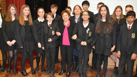 L-R Janine Webber from the Holocaust Educational Trust, head Elizabeth Hitch and year 9 pupils
