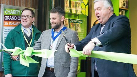 Mayor Ben Lewis and MP Sir Oliver Heald cut the ribbon. PICTURE: Victoria Phan.