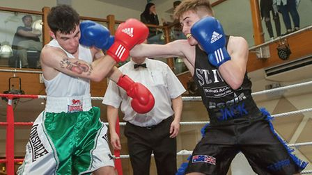 Jack Smith (right) was one of the St Ives Boxing Academy fighters to shine on their home show. Pictu