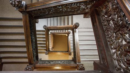 The carved oak staircase is thought to be one of the most intricate in the world