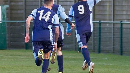 Lee Clarke sets off in celebration after hitting St Neots Town's late winner against Paulton Rovers.