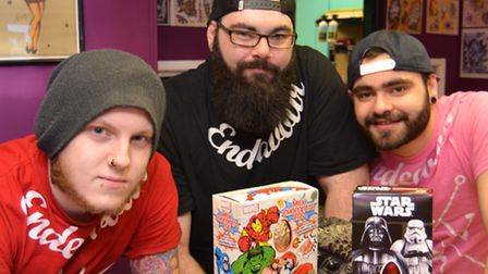 Endeavour Tattoo, in Huntingdon, are collecting easter eggs for Holly Ward, (l-r) Kieran Solman, own