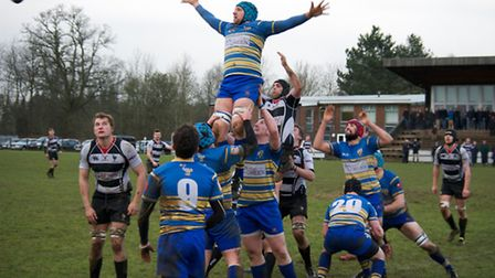 Harpenden look to steal a line-out in their 17-3 win over Enfield Ignatians