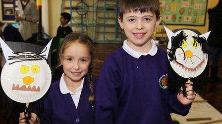 Lily and Harry take part in activities during Curriculum Day at Roman Way First School in Royston