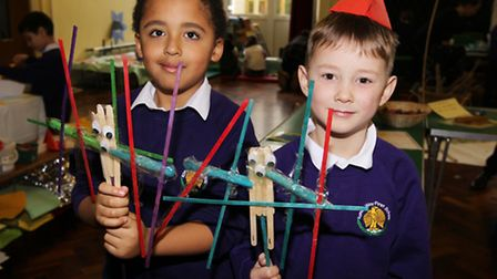 Joshua and Harrison take part in activities during Curriculum Day at Roman Way First School in Royst