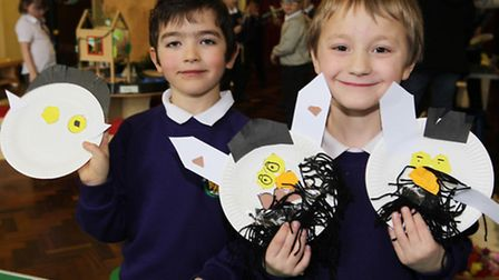 Fraser and Jake take part in activities during Curriculum Day at Roman Way First School in Royston