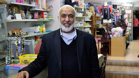 Mohammed Akhtar inside his Kadect charity shop on Hatfield Road