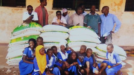 Bags of rice donated to people in the Gambia by Kadect charity