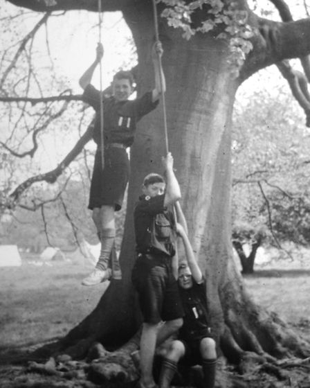Geoffrey Gledhill's first flight! As a 17-year-old scout in camp in 1938, Geoff Gledhill is hoisted