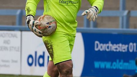 St Neots goalkeeper Alex Archer pictured during his debut at Dorchester last Saturday. Picture: CLAI