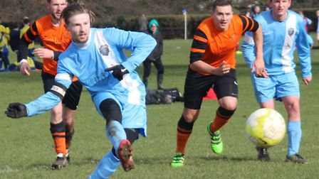 Facelad's Jerry Clynes sees his penalty miss in the 0-0 draw against Brookmans Park