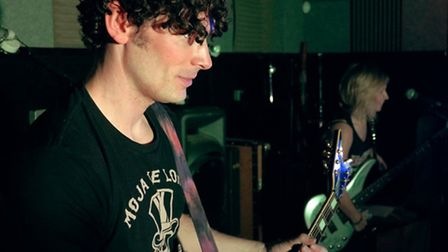 Pete and Bex of The Muffin Heads in the recording studio