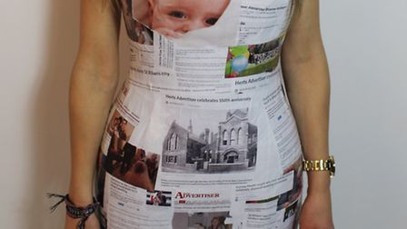 Herts Advertiser newspaper dress by Lucy Barnes from Oaklands College