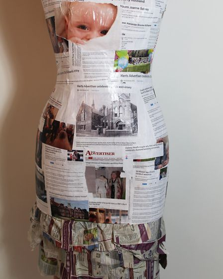 Lucy Barnes used papier mâché to construct the upper part of the dress