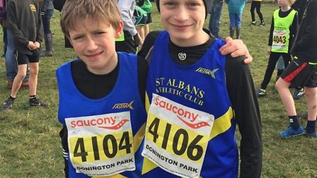Henry Jones and Robert Quigley represented St Albans AC in the U13 race at the National Cross Countr