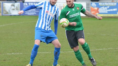 Lee Bassett (left) was among the Eynesbury Rovers scorers as they reached the Hunts Senior Cup final