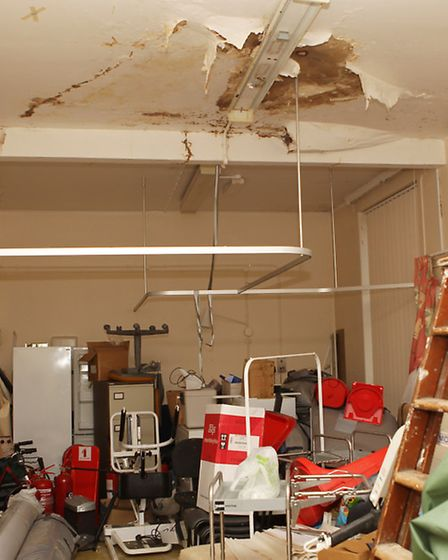 Water damage to one of the rooms in The Red House, Harpenden Memorial Hospital, shown in a photo tak