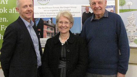 David Law, with Cllr Teresa Heritage, and Eric Midwinter of The Harpenden Society were at the public