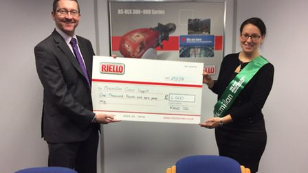 Riello present cheque to Woodlands appeal