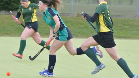 Katie Frear in action for St Ives Ladies 2nds during their victory against Ely City 1sts last Saturd